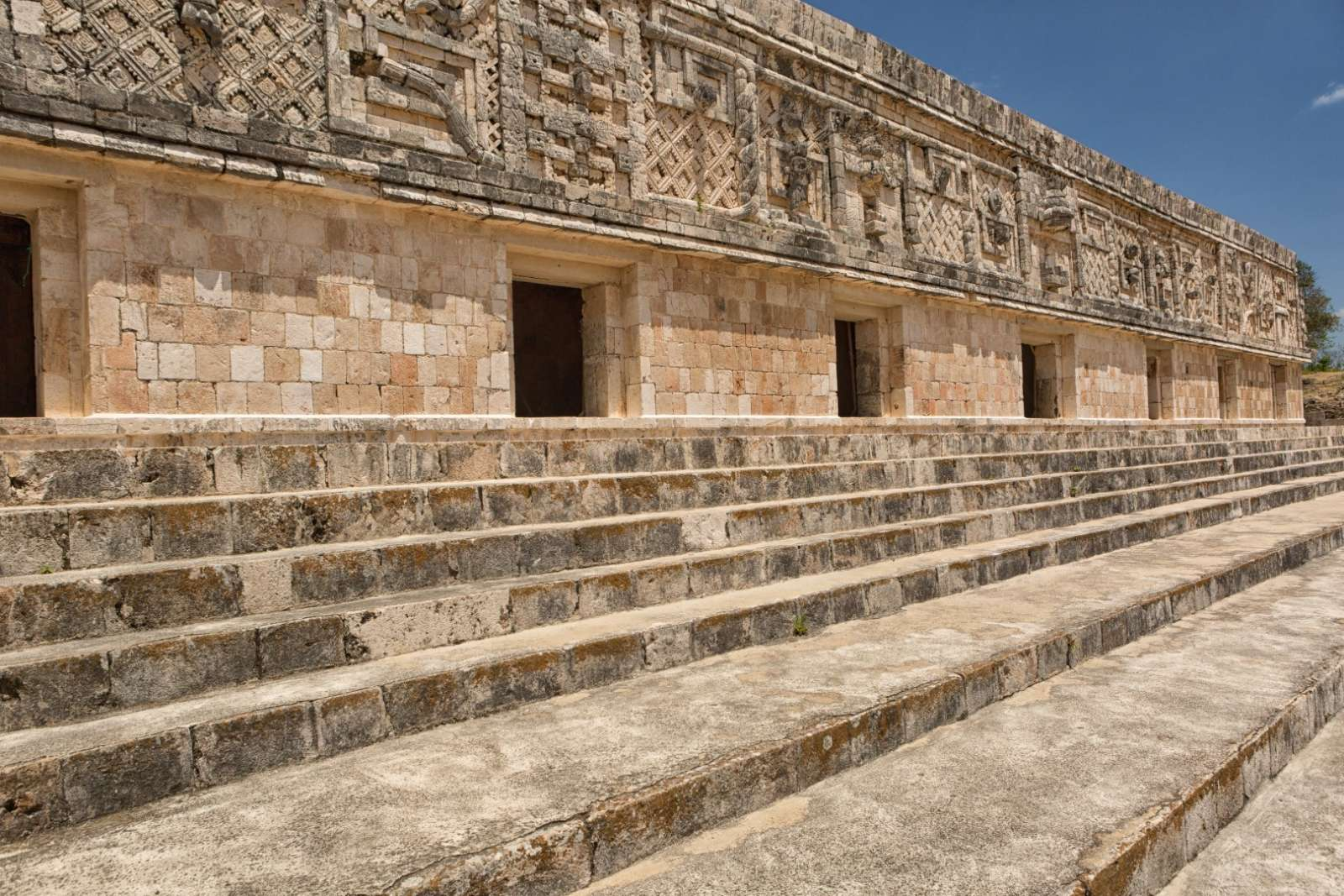 Steps and carvings at Uxmal, Mexico