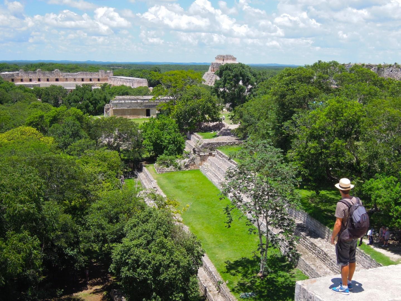 Man looking over ruins of Uxmal