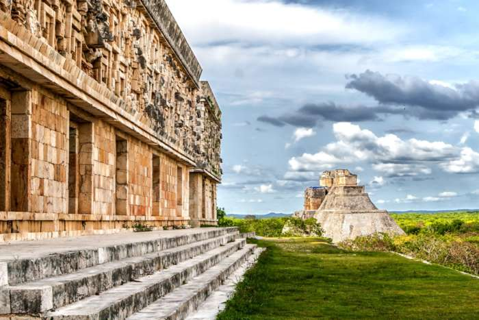 View to main pyramid at Uxmal, Yucatan