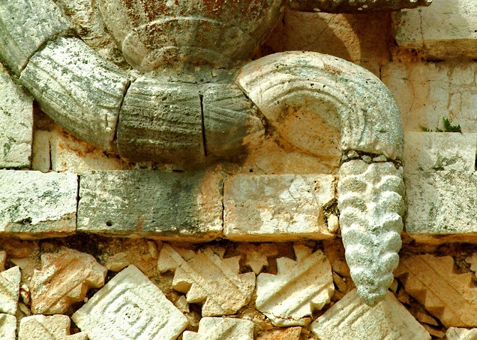 Carving of a snake at Uxmal