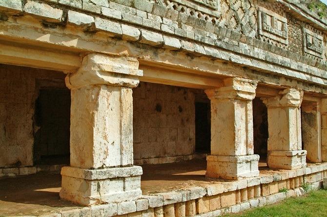 A series of stone columns at Uxmal