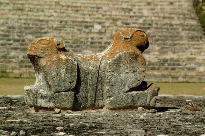A stone figure at Uxmal