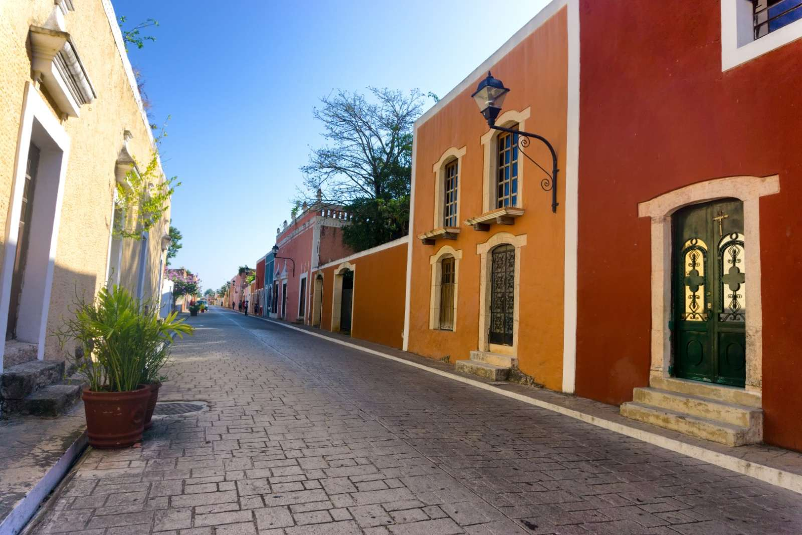 Colourful and quiet street in Valladolid Mexico