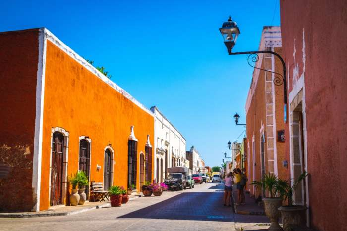 Colourful street in Valladolid Mexico