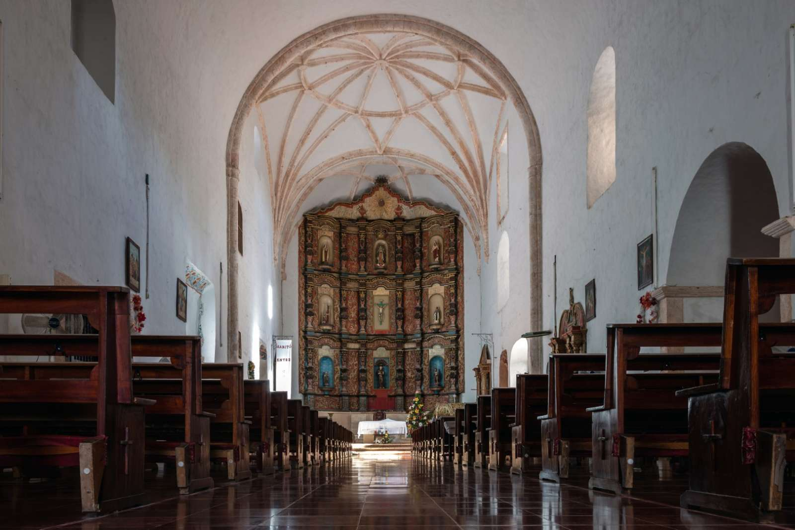 Interior of the Monastery of San Bernardine in Valladolid Mexico