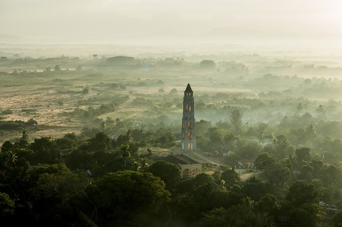 An aerial view of the Iznaga Tower in the Valley of the Sugar Mills