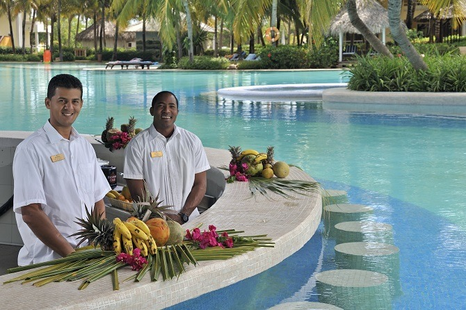 Smiling bar staff at the Paradisus Varadero in Cuba