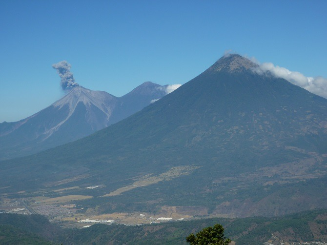 View of volcanoes from Mt Pacaya in Guatemala