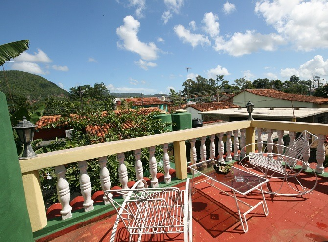 The rooftop terrace of Villa Cristal in Vinales, Cuba