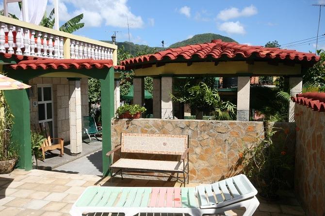 The internal garden of Villa Cristal in Vinales, Cuba