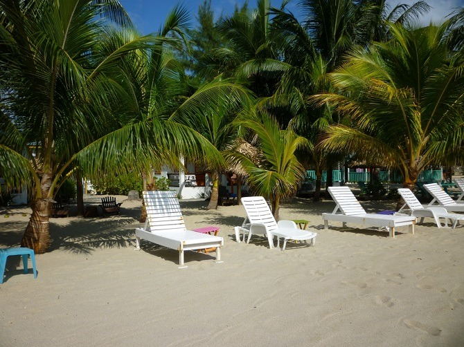 The beach at Villa Ranguana in Placencia, Belize