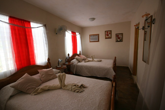 The bedroom of Villa Susana in Vinales, Cuba