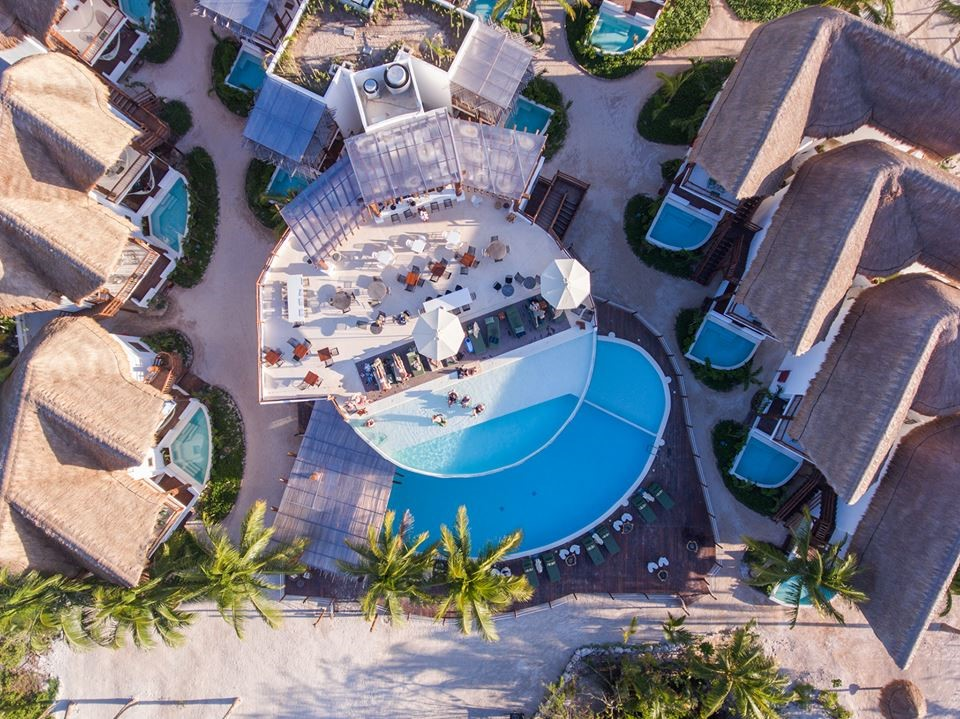 Aerial pool view at Balcony at Villas Hm Palapas Del Mar, Holbox