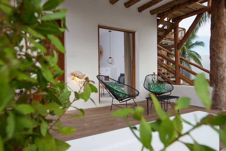 Terrace seating at Balcony at Villas Hm Palapas Del Mar, Holbox