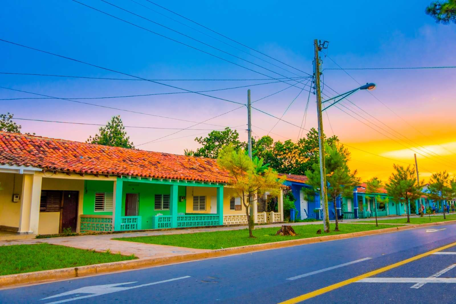 Quiet Vinales street in early morning