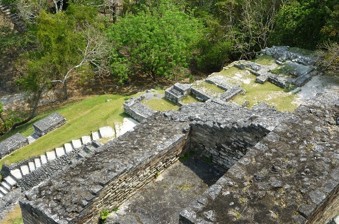 Looking down from the main pyramid at Xunantunich