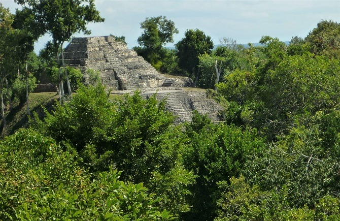 Pyramid at Yaxha in Peten, Guatemala