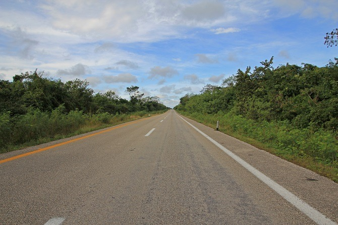 An empty road in the Yucatan