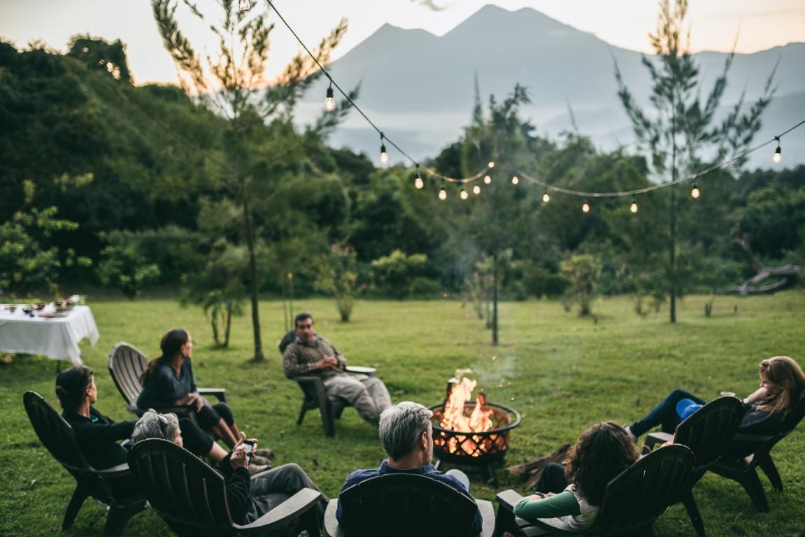 Volcano views from the campfire at Antigua glamping