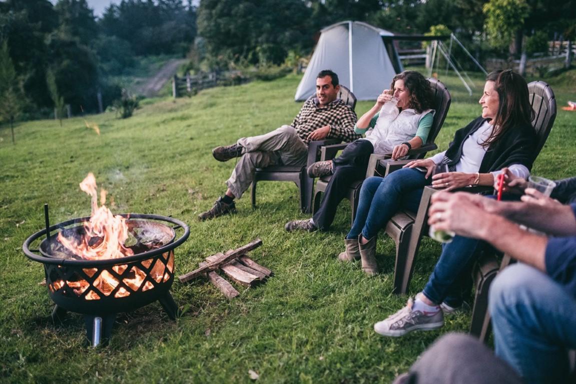 Sat around the campfire at Antigua glamping