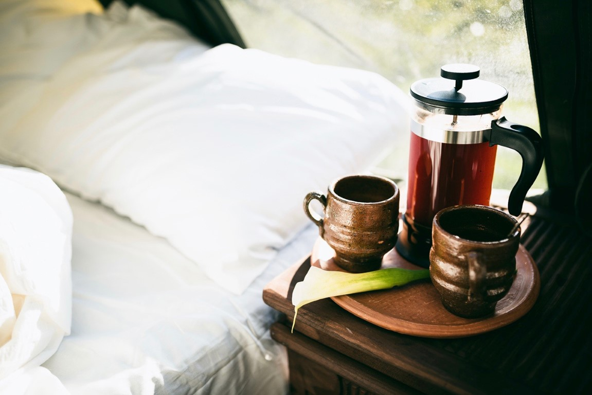 Morning coffee while glamping in Antigua
