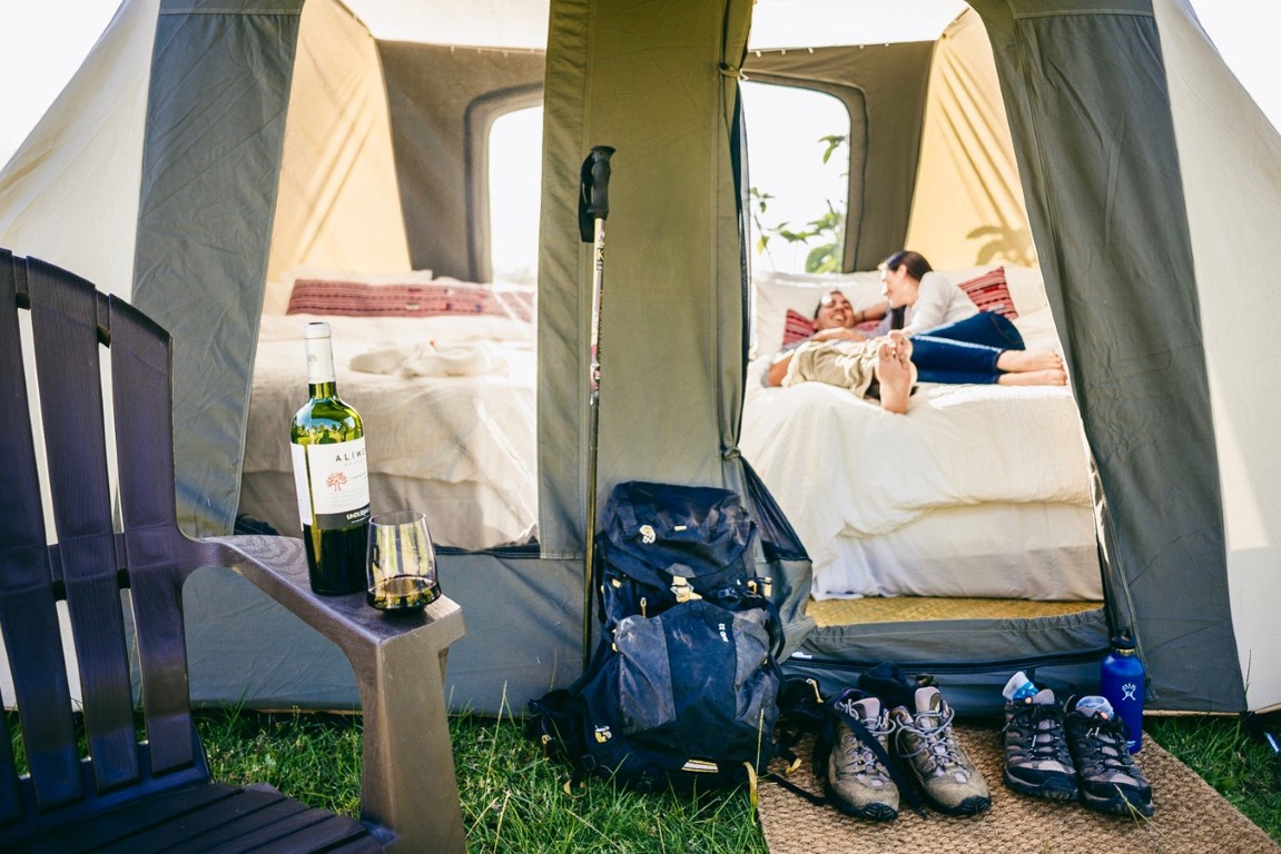 Exterior of a tent at Antigua glamping