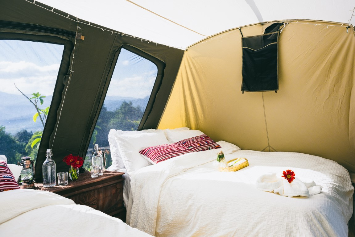 Interior of a tent at Antigua glamping