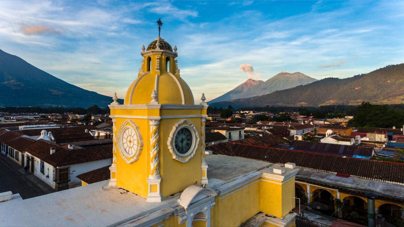 An aerial view of the Acro de Santa Catalina in Antigua, Guatemala