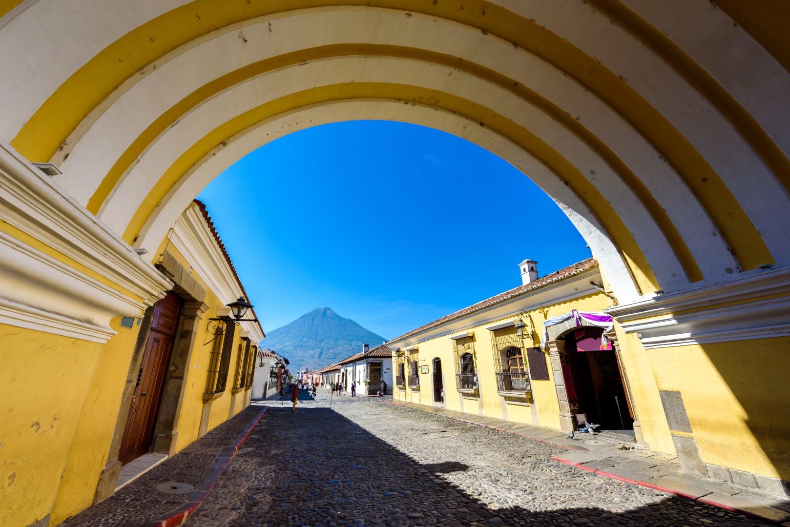 Underneath the Arco De Santa Catalina in Antigua, Guatemala