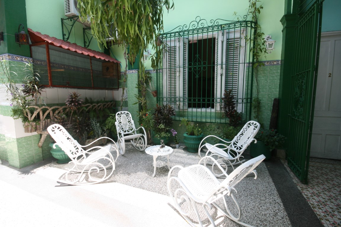 Courtyard of casa Pavo Real in Santiago de Cuba