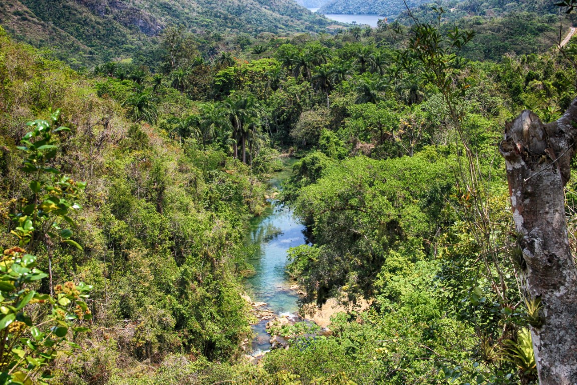 View of the river leading to El Nicho waterfall