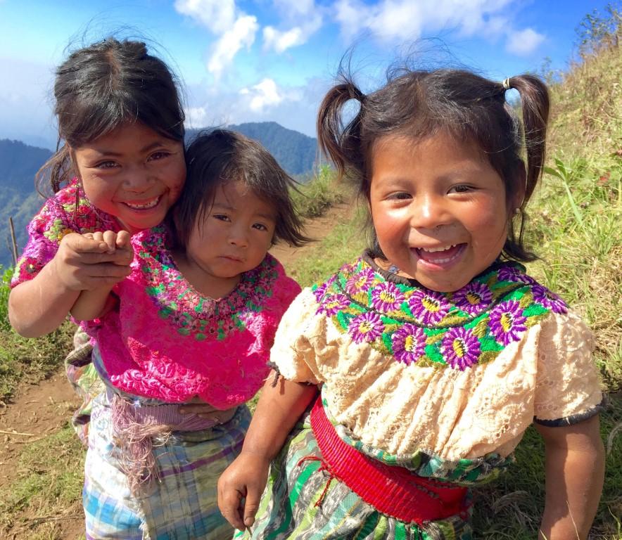 Smiling Mayan children while hiking in Guatemala