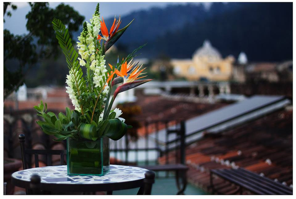 Flowers at Hotel Meson de Maria in Antigua