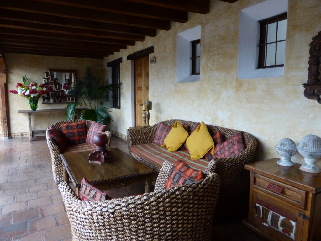 Sofa and chairs at Hotel Meson de Maria in Antigua