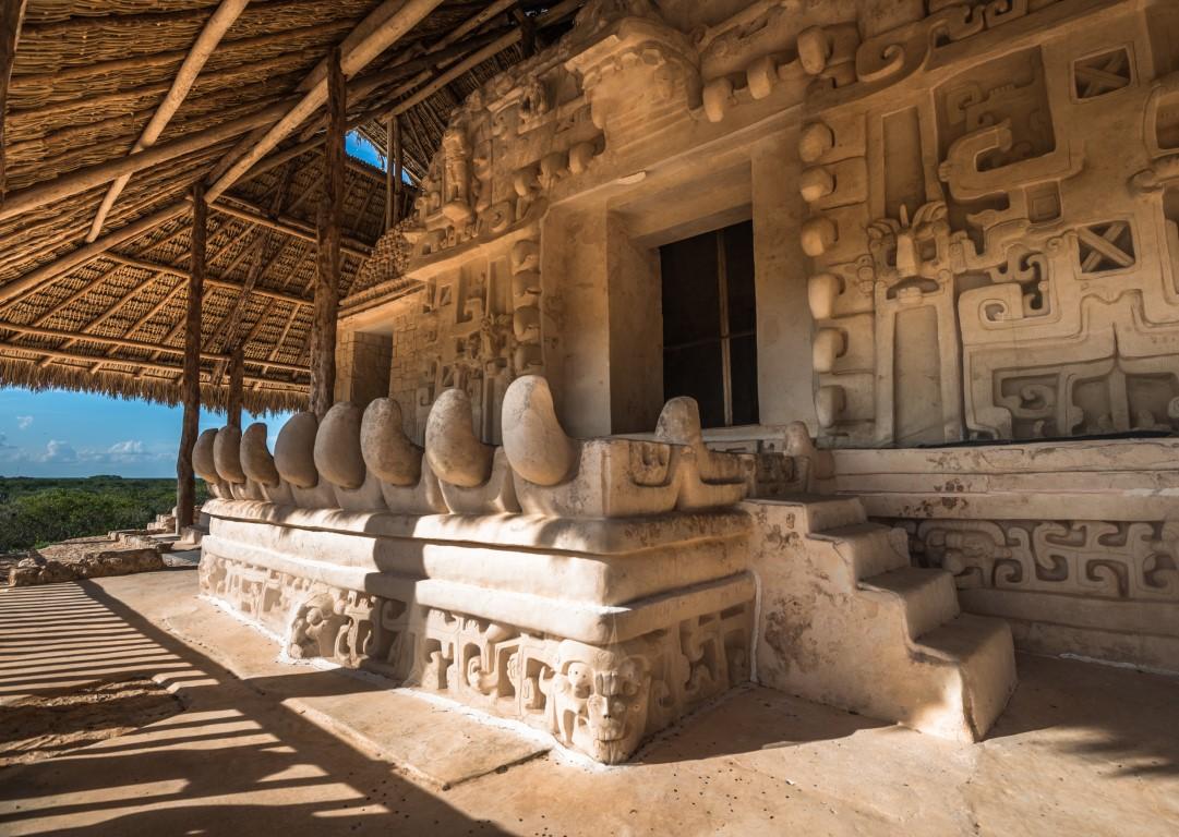 Ornate carvings at the ruined Mayan city of Ek Balam in the Yucatan Peninsula