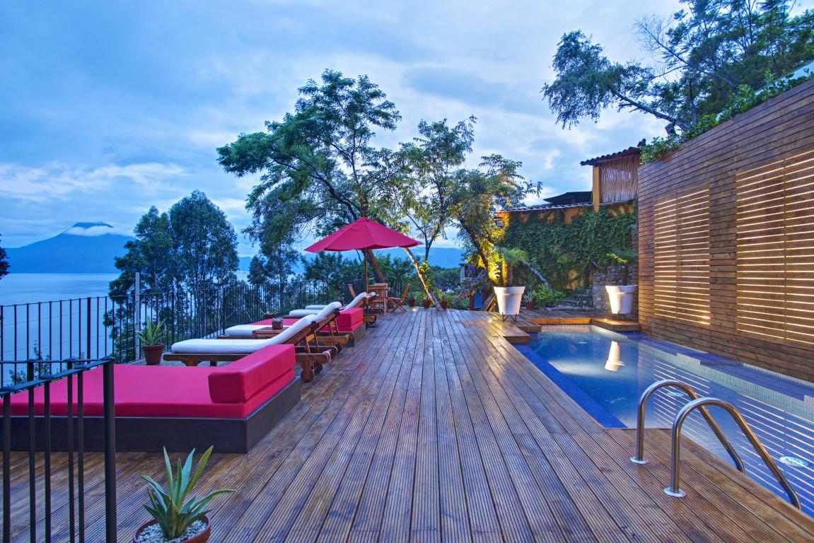 Swimming pool and decking at Casa Palopo overlooking Lake Atitlan