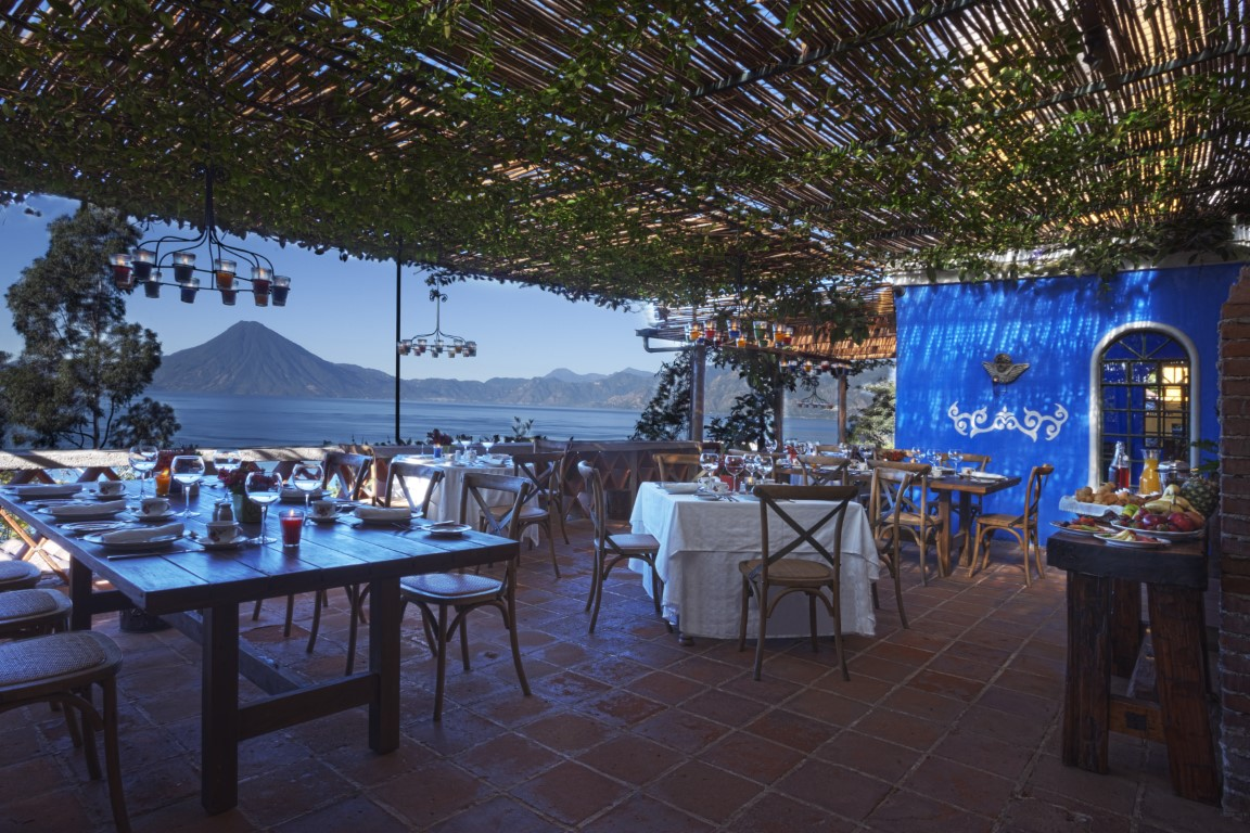 The restaurant terrace at Casa Palopo on Lake Atitlan