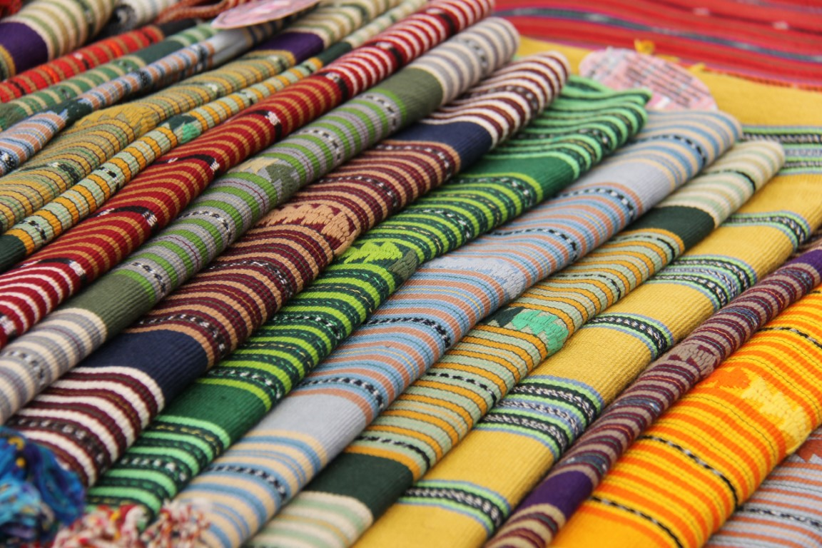 Traditional tejidos at Solola Market in Guatemala