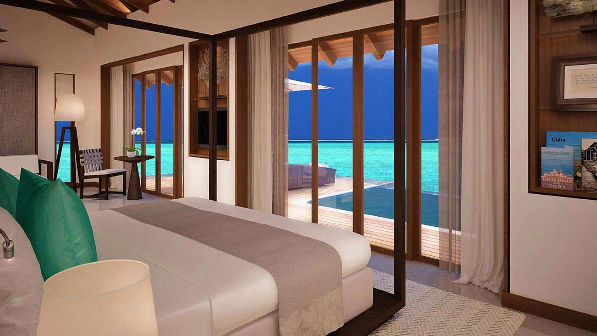 Luxury hotel suite with plunge pool looking out over the sea