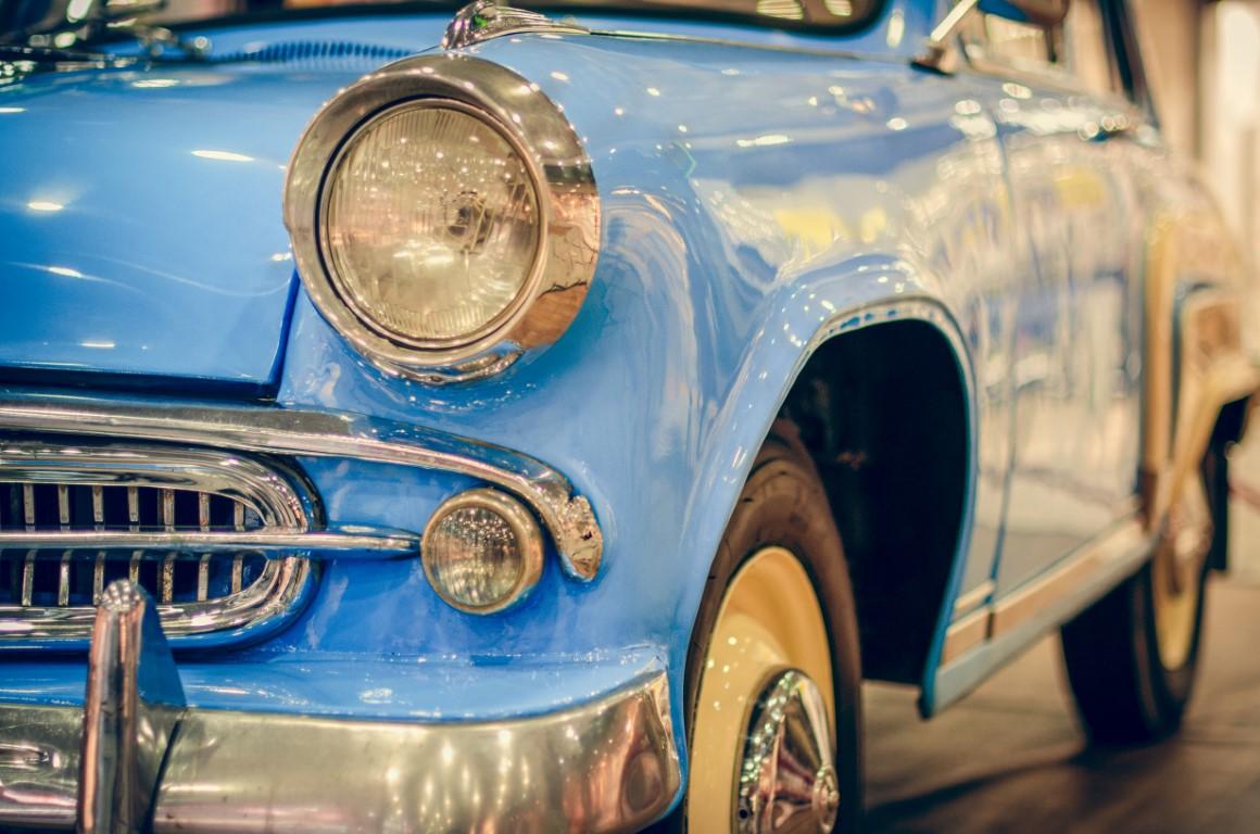 blue classic car in Havana