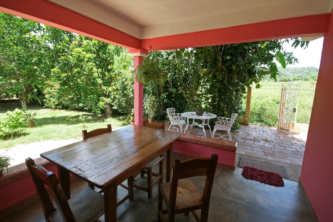 Outside table at a homestay in Vinales, Cuba