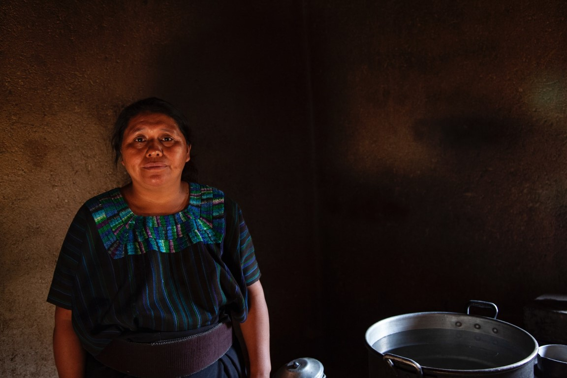 Guatemalan woman in kitchen