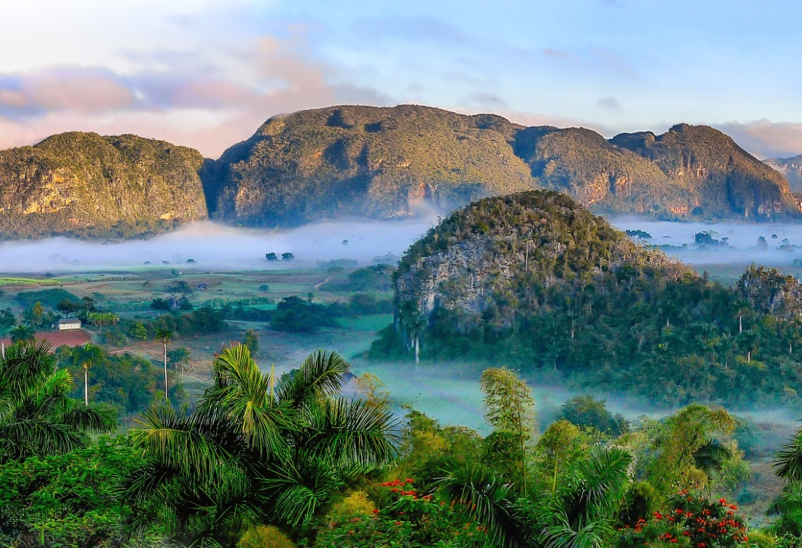 View of the Vinales Valley in Cuba, a popular tourist destination