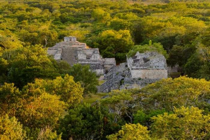 An aerial view of Ek Balam Mayan ruins in the Yucatan