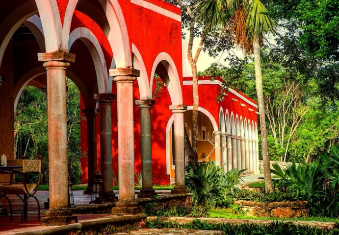 Bright red building at Hacienda Ticum in Izamal