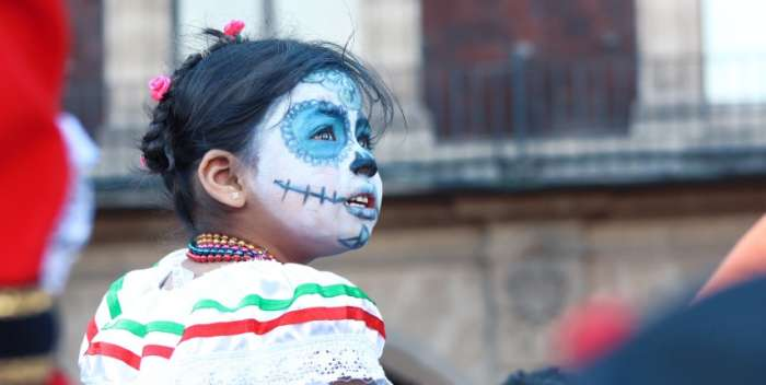 Young girl celebrating Day of the Dead in Mexico
