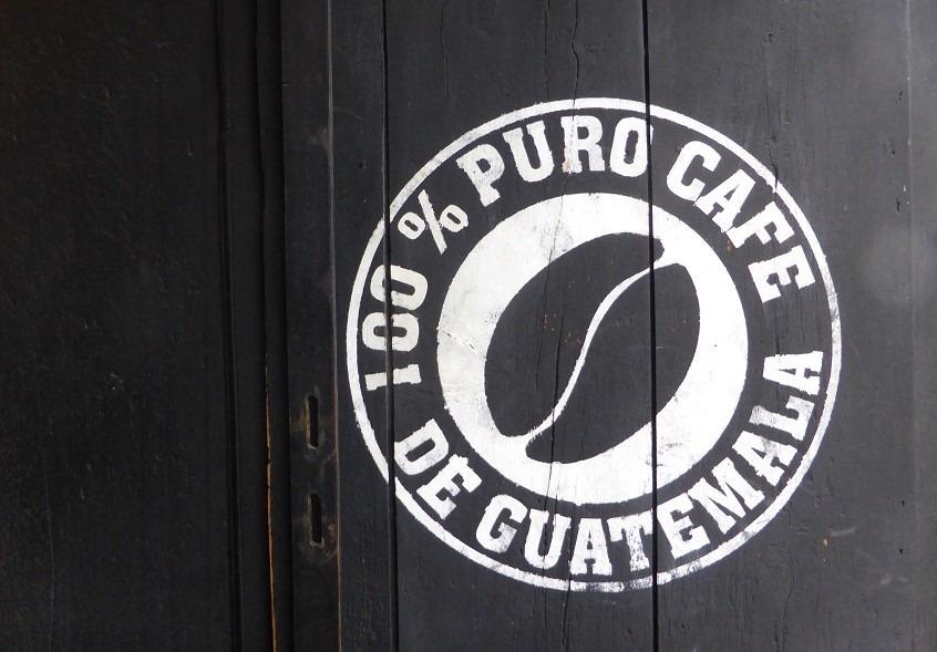 Guatemala coffee sign on door