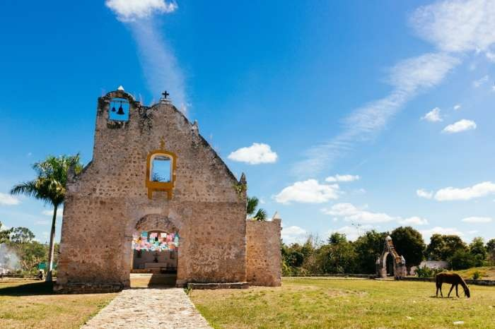 Ruined church on the Convent Route in Yucatan