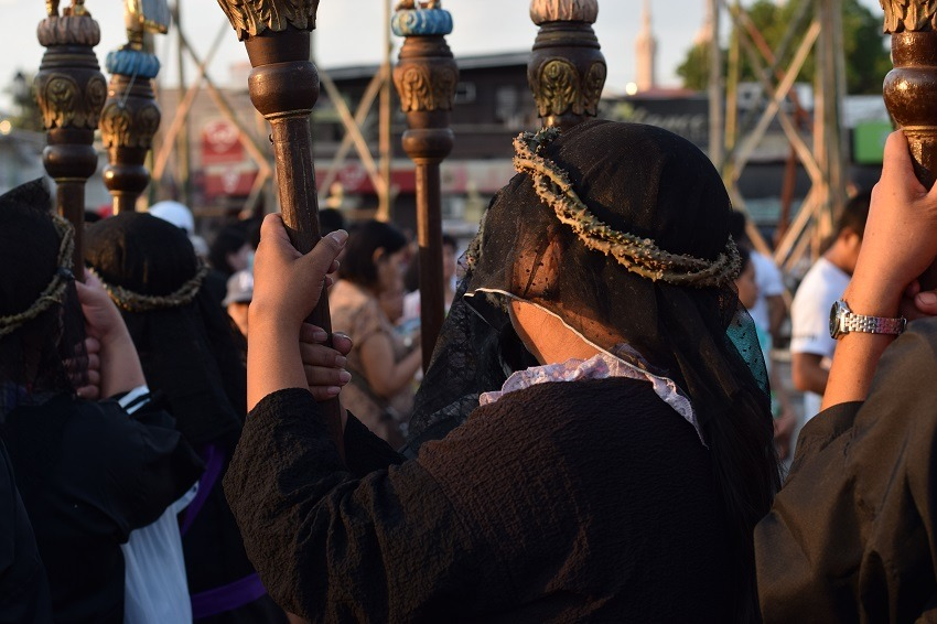 A female procession during Semana Santa