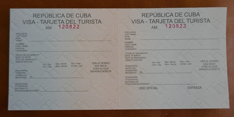 Front of a Cuba Tourist Card